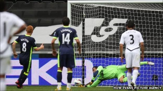 Swansea City goalkeeper Michel Vorm saves BEn Watson's penalty