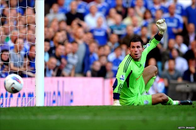 Ben Foster watches the ball go in his goal