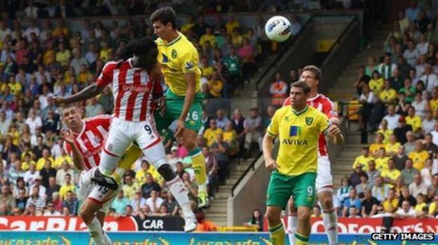 Stoke's Kenwyne Jones scores the winner against Norwich