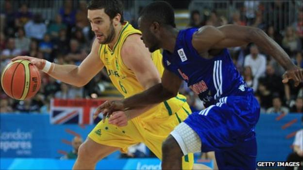 Adam Gibson of Australia and Ogo Adegboye of Britain