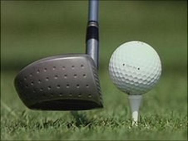 Golf club, ball and tee