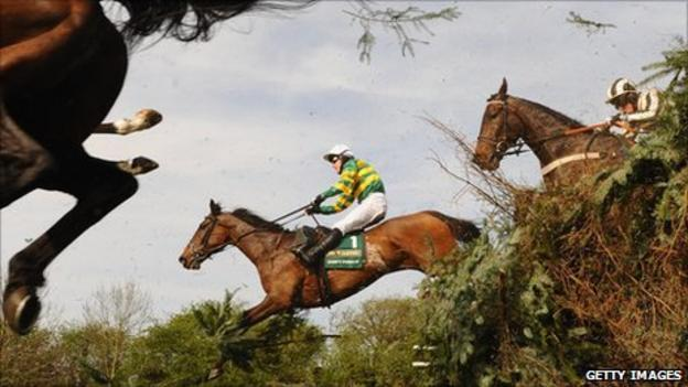 Horses during the Grand National at Aintree