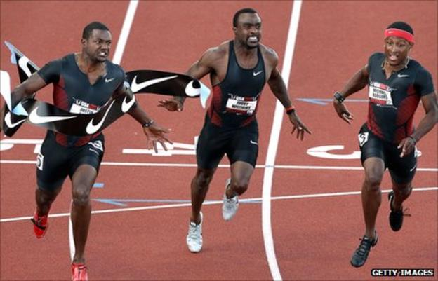 Justin Gatlin (left), with Ivory Williams and Michael Rodgers at the US Track and Field Championships