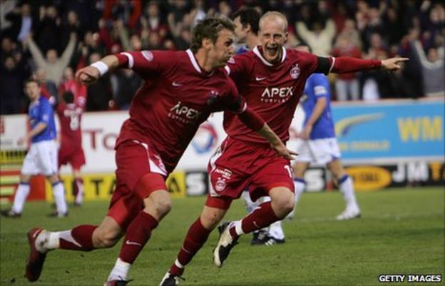 Lee Miller celebrates scoring for Rangers against Aberdeen