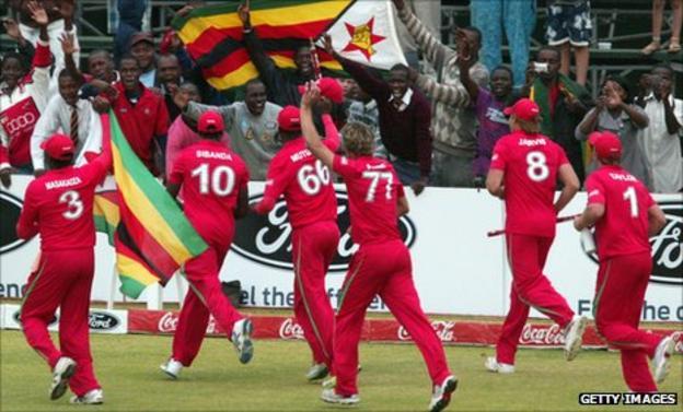 Zimbabwe's players celebrate winning the one-day series