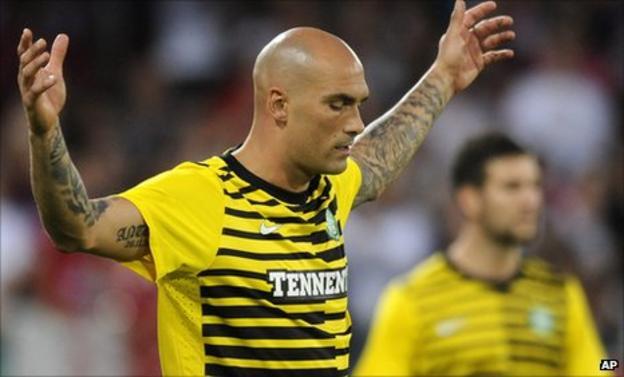 Celtic defender Daniel Majstorovic was sent off inside the first minute