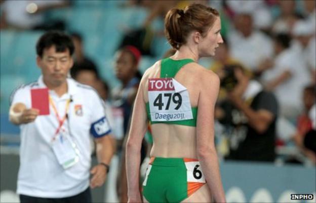 Irish record holder Joanne Cuddihy is disqualified in Daegu