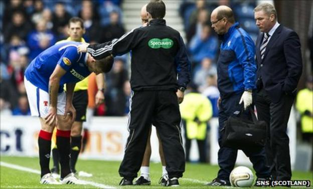 Rangers defender Dorin Goian receives treatment at the side of the pitch