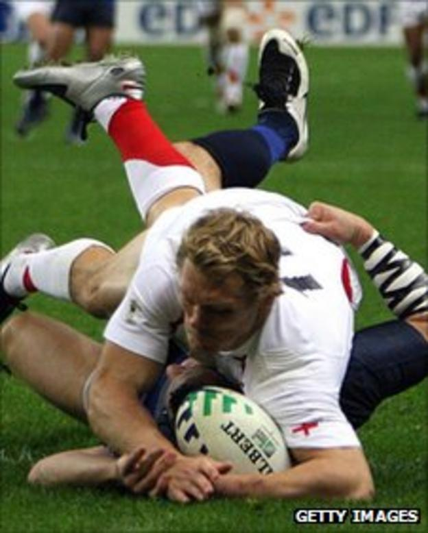 Josh Lewsey scores against France in the semi-finals