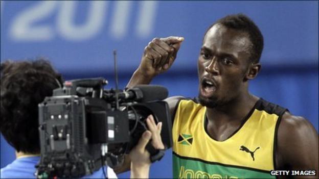 Usain Bolt before the 100m final