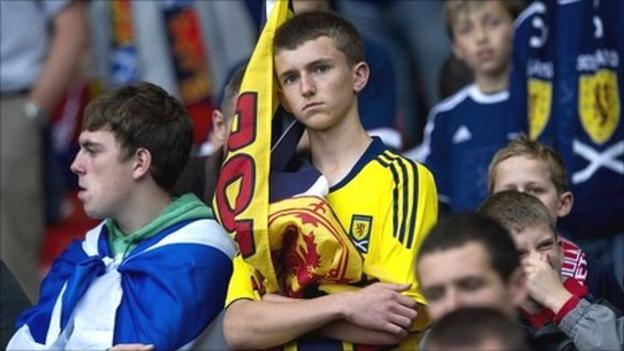 Dejected Scotland fans