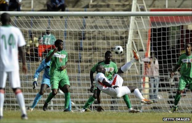 Denis Oliech shoots in Kenya's game against Guinea Bissau