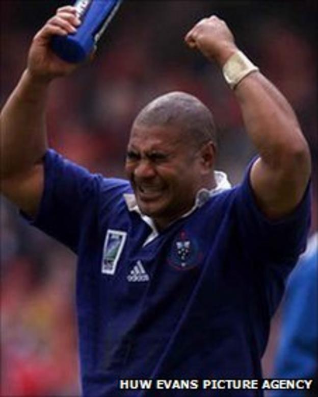 Samoa wing Inga Tuigamala celebrates their 1999 World Cup win over Wales