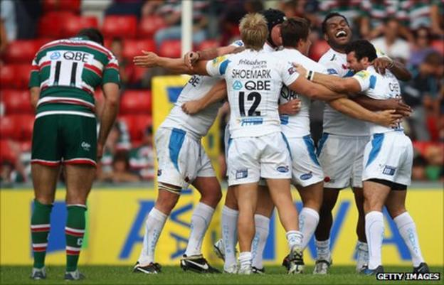 Exeter's players were overjoyed at becoming only the second side in three years to win a league match at Welford Road