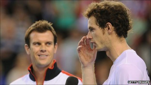 Davis Cup captain Leon Smith and Andy Murray