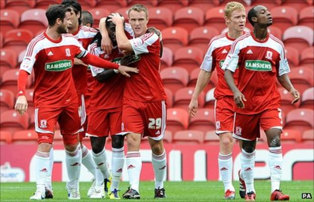 Marvin Emnes celebrates scoring with Middlesbrough team-mates