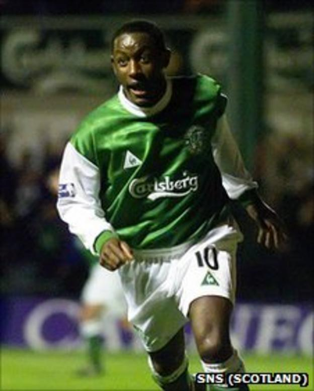 Russell Latapy in action for Hibs