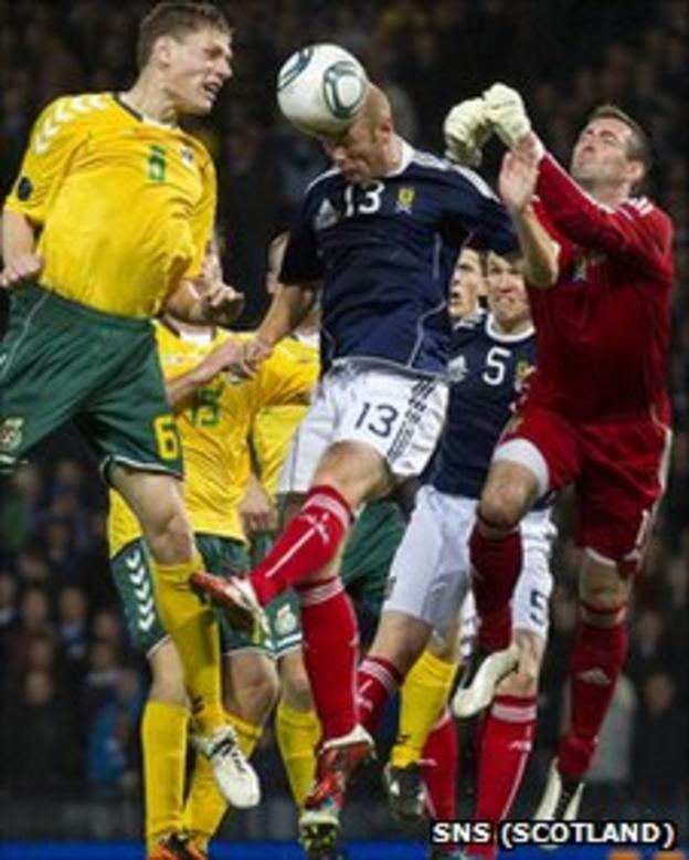 Stephen Crainey heads clear in the closing stages at Hampden