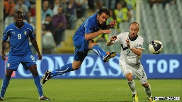 Substitute Giampaolo Pazzini scores five minutes from the end to book Italy's passage to Euro 2012
