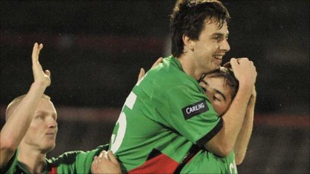 Owain Beggs celebrates after equalising for Glentoran at the Oval