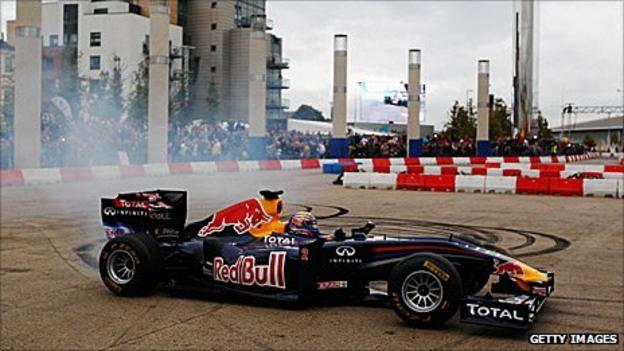 Mark Webber in a Red bull demonstration in Cardiff