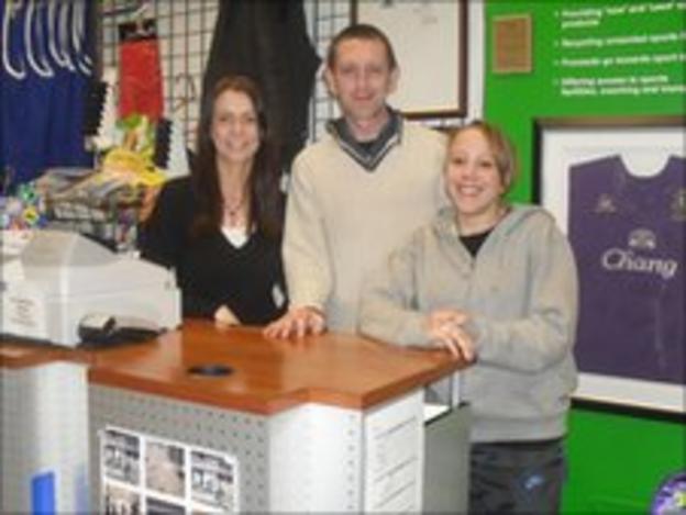 SportsTraider staff in Bedford (L - R) Ashley Kenlock, Michael Owen and Mandy Beal