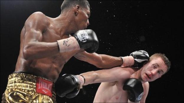 Prescott catches McCloskey with a jab in the Odyssey Arena fight