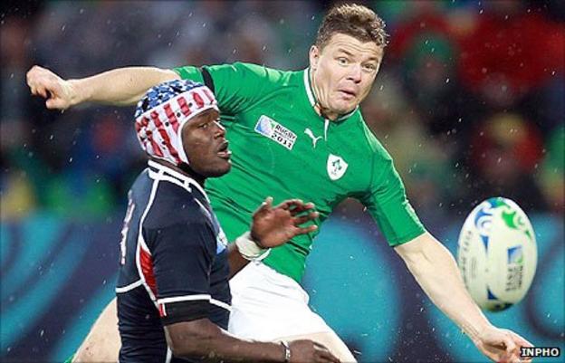 USA winger Takudzwa Ngwenya in action against Irish skipper Brian O'Driscoll