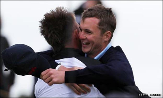 Michael Stewart (right) celebrates