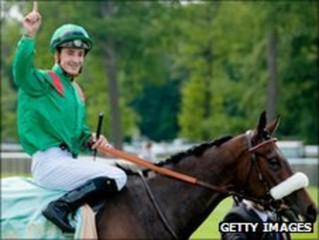 Christophe Lemaire and Sarafina pictured after Sarafina won Prix de Diane at Chantilly in 2010