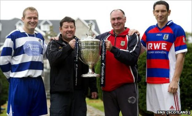 Newtonmore manager Norman MacArthur (2nd from left) and captain Scott Campbell are joined by Kingussie boss Stevie Borthwick (2nd from right) and skipper Ronald Ross as they look ahead to the Scottish Hyrdo Camanachd Cup Final