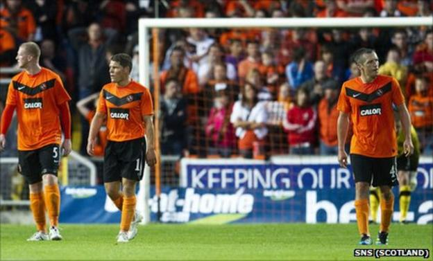 Dundee United were knocked out of the Europa League at the first hurdle