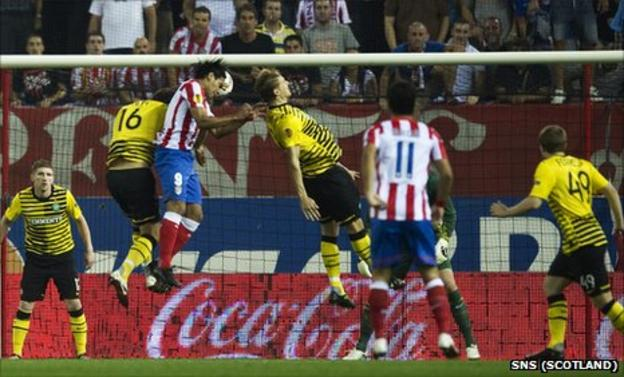 Falcao nods in the opening goal at the Vicente Calderon