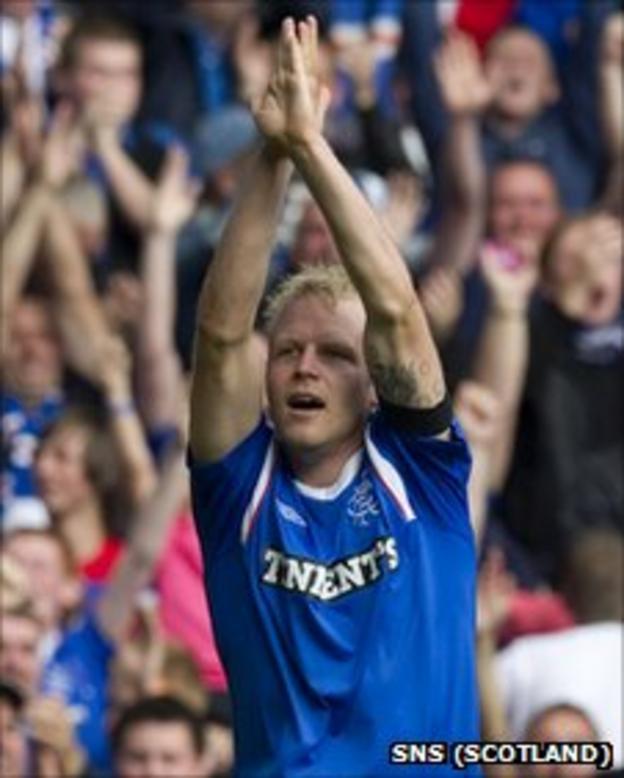Steven Naismith celebrates scoring for Rangers against Celtic