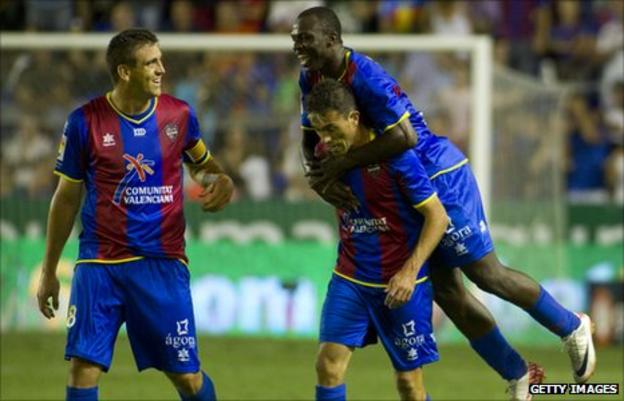 Ivory Coast's Arouna Kone celebrating with his Levante team-mates