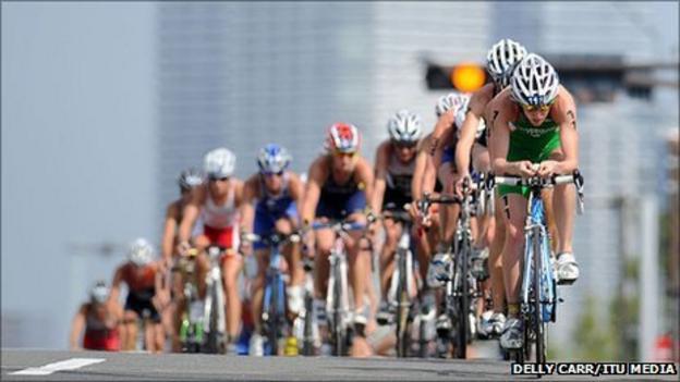 Aileen Morrison leads a group of riders during the bike leg in Yokohama
