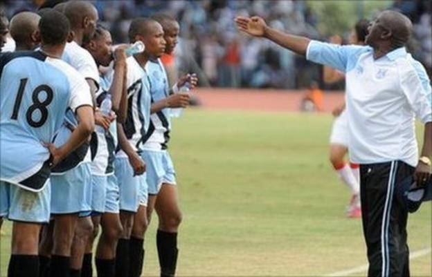 Stanley Tshosane instructs the Botswana national team