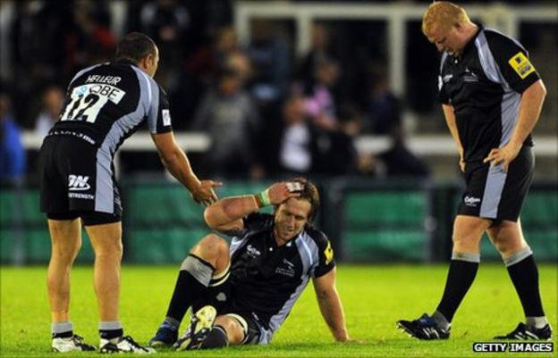 Newcastle Falcons players look dejected after the defeat by Bath