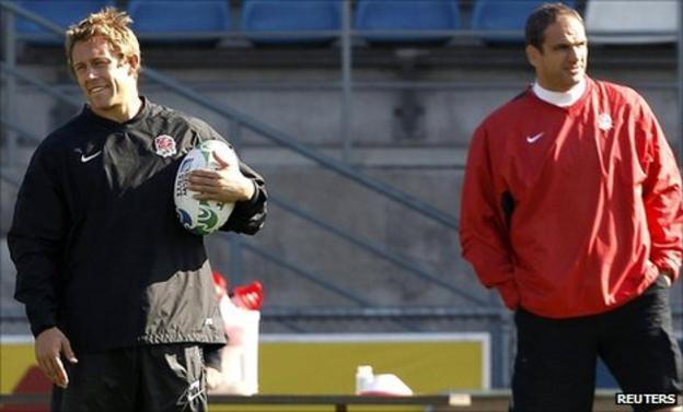 Jonny Wilkinson and England team manager Martin Johnson