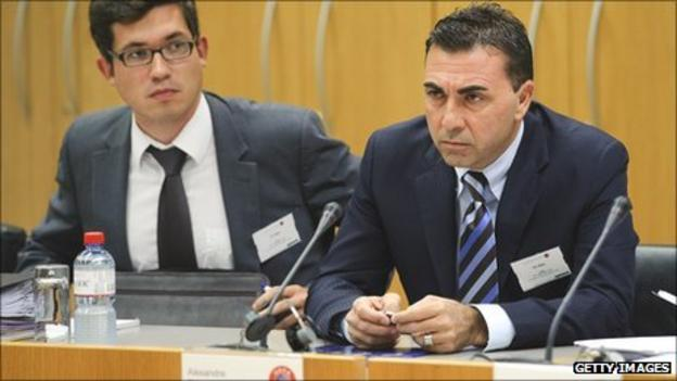 Sion's General-Director Domenicangelo Massimo (r) sits next to the club's lawyer at their Uefa appeal hearing