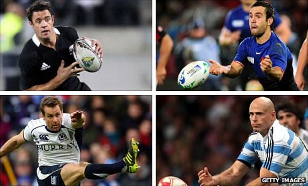 Key men (clockwise from top left): New Zealand fly-half Carter, France counterpart Parra, Argentina number 10 Contepomi and Scotland full-back Paterson