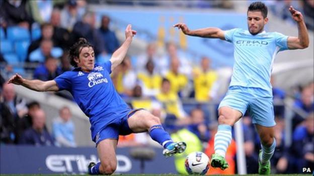Sergio Aguero (right) and Leighton Baines battle for the ball