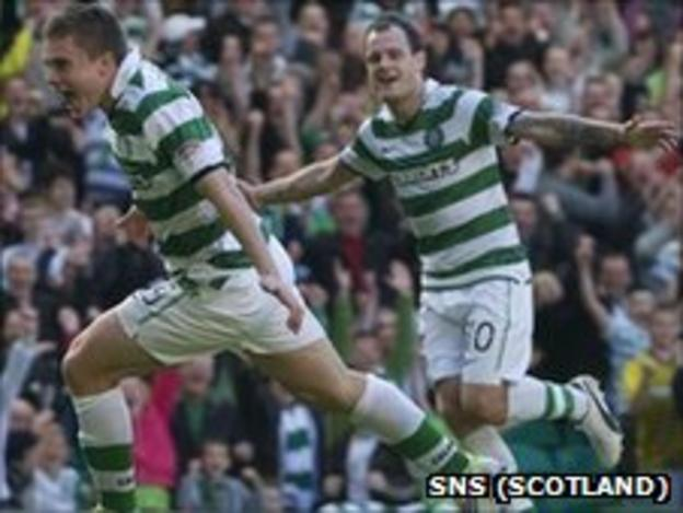 James Forrest celebrates scoring for Celtic against Inverness with Anthony Stokes