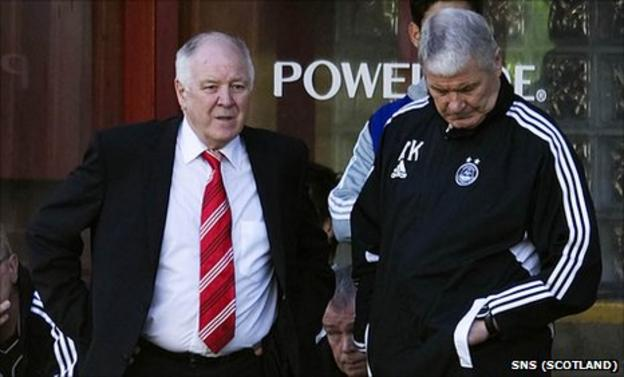 Aberdeen manager Craig Brown and assistant Archie Knox