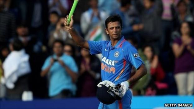 Rahul Dravid acknowledges the crowd after his final one-day innings