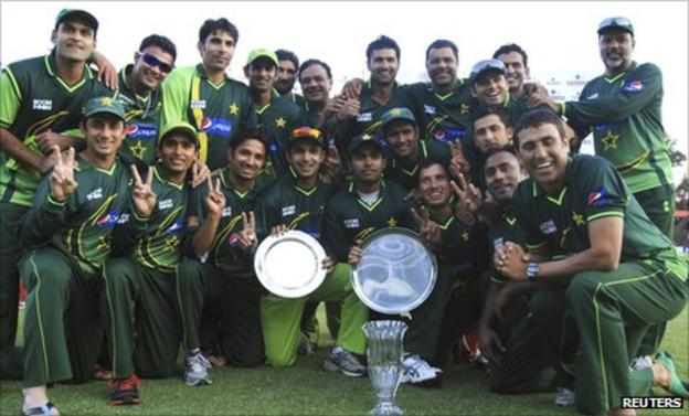 Pakistan celebrate with the one-day series trophies
