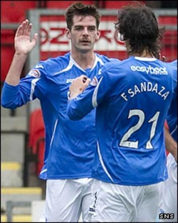 Cillian Sheridan and Francisco Sandaza celebrate