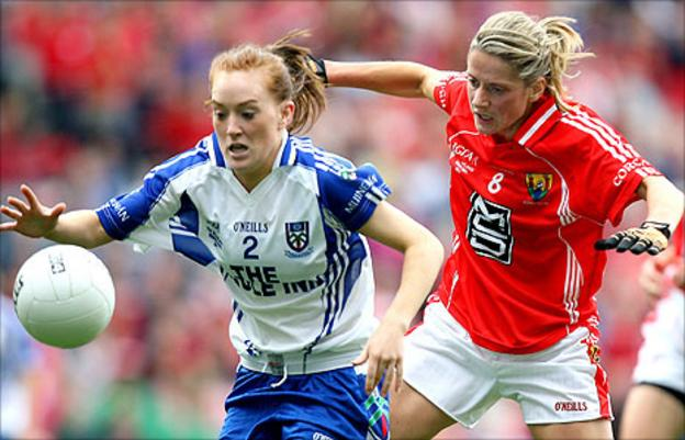 Grainne McNally of Monaghan in action against Cork's Juliet Murphy
