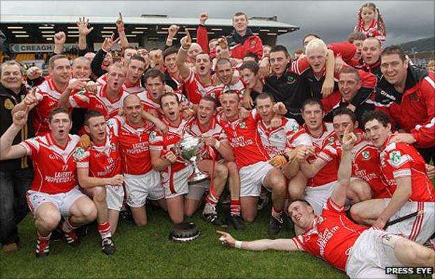 Loughgiel celebrate their victory over Cushendall at Casement Park
