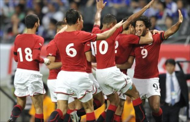 Egyptian players celebrate